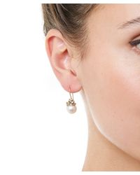 Ruth Tomlinson Metallic Gold Diamond Encrusted Pearl Drop Earrings