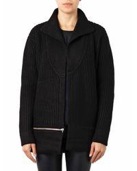 IRO Black Matari Ribbed-Knit Wool Jacket