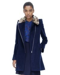 Rebecca Taylor Blue Leopard Collar Wool Coat