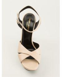 Saint Laurent | Natural 'Bianca' Platform Sandals | Lyst
