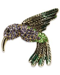 Jones New York - Metallic Gold-tone Crystal Hummingbird Pin Box - Lyst