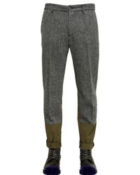 Miharayasuhiro Gray Wool Tweed Cotton Nylon Trousers for men
