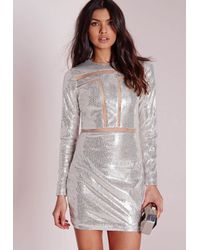 Missguided | Metallic Mesh Insert Sequin Bodycon Dress Silver | Lyst