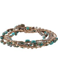 Feathered Soul - Blue Turquoise & Labradorite Beaded Necklace/wrap Bracelet - Lyst