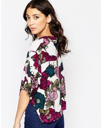 Motel - Purple Leigh Shirt In Floral Midnight Print - Lyst