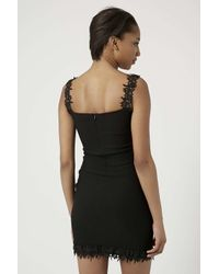 TOPSHOP - Black Lace Trim Bardot Mini Bodycon Dress By Rare - Lyst
