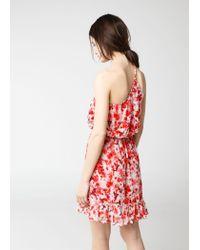 Mango White Asymmetric Floral Print Dress
