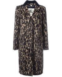 Burberry - Brown Animal Print Coat - Lyst
