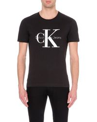 Calvin Klein | Black Logo-print Cotton T-shirt for Men | Lyst