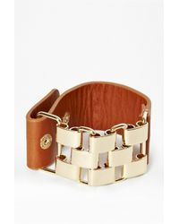 French Connection | Metallic Multi Link And Leather Bracelet for Men | Lyst