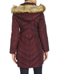 Jones New York - Purple Chevron-Quilted Faux Fur Trim Coat - Lyst