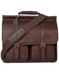 Kenneth Cole Reaction | Brown Colombian Leather Dowel Rod Double Gusset Laptop Brief for Men | Lyst