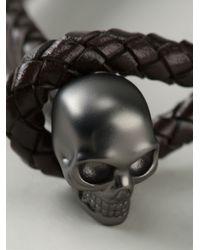 Alexander McQueen Brown Woven Skull Bracelet for men