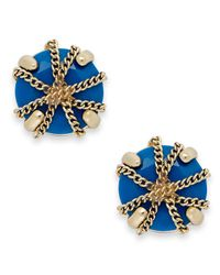 ABS By Allen Schwartz | Blue Gold-tone Wrapped Stud Earrings | Lyst