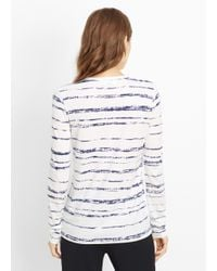 Vince - White Shadow Stripe Print Long Sleeve Tee - Lyst
