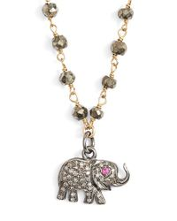 Ela Rae | Metallic 'phoebe' Diamond Charm Necklace | Lyst