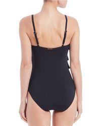 MICHAEL Michael Kors Black Logo Solids Ruffled One-piece Swimsuit