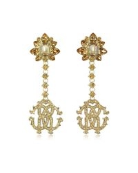 Roberto Cavalli - Metallic Rc Lux Golden Metal W/crystals Pendant Clip-on Earrings - Lyst