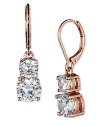 Anne Klein | Pink Rose Goldtone Glitz Drop Earrings | Lyst