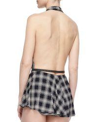 Michael Kors - Black Sedona Plaid Skirted One-piece Swimsuit - Lyst