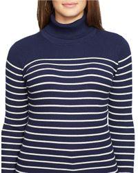 Lauren by Ralph Lauren - Blue Plus Striped Turtleneck Sweater - Lyst