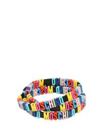 Moschino | Black Leather Bracelet With Logo Lettering | Lyst