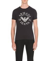 Armani Jeans | Blue Eagle Logo-print Cotton-jersey T-shirt for Men | Lyst