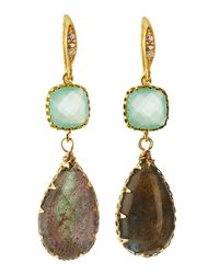Indulgems | Metallic Crystal & Labradorite Drop Earrings | Lyst
