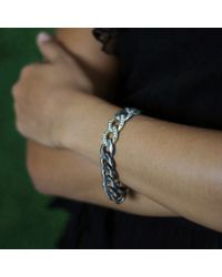 Sylva & Cie Metallic Diamond Pave Link Bracelet