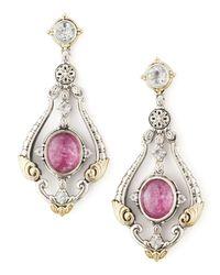 Konstantino | Red Ruby/Quartz Doublet & Sapphire Chandelier Earrings | Lyst