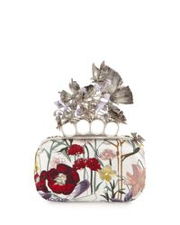 Alexander McQueen - White Knuckle Box Floral Embroidered Clutch - Lyst