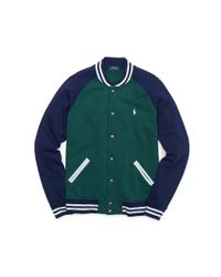 Polo Ralph Lauren | Green Fleece Baseball Jacket for Men | Lyst