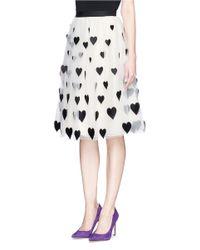 Alice + Olivia Multicolor 'catrina' Heart Appliqué Tulle Midi Skirt
