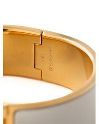 Hermès - White 'Clic Clac H' Bracelet - Lyst