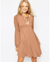 ASOS | Brown Swing Dress With Shirred Sleeves | Lyst