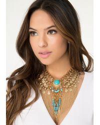 Bebe Blue Bead & Fringe Necklace