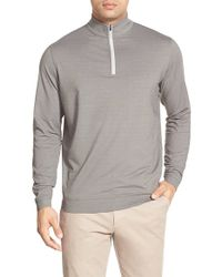 Peter Millar | Gray 'perth' Quarter Zip Terry Pullover for Men | Lyst