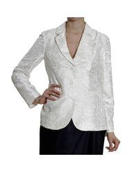 Emporio Armani - White Blazer 3 Buttons Satin Silk Embroidered Cordonetto - Lyst
