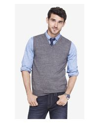 Express - Gray Merino Wool Sweater Vest for Men - Lyst