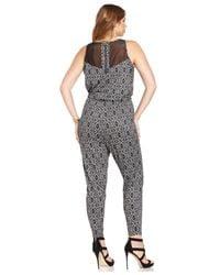 Jessica Simpson - Black Plus Size Alyce Printed Illusion Jumpsuit - Lyst
