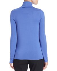 Lord & Taylor   Blue Fitted Turtleneck   Lyst