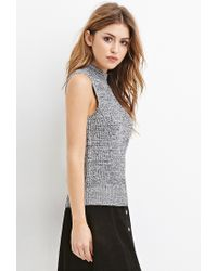 Forever 21 - Black Mock Neck Ribbed Sweater - Lyst