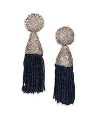Oscar de la Renta | Blue Silk-tassel Clip-on Earrings | Lyst