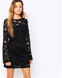 Motel Black Cybill Dress In Daisy Lace