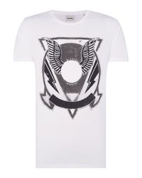 DIESEL | Black T-clar Regular Fit Wings Graphic T Shirt for Men | Lyst