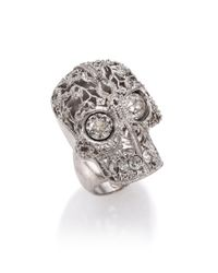 Alexander McQueen | Metallic Caged Floral Skull Ring | Lyst