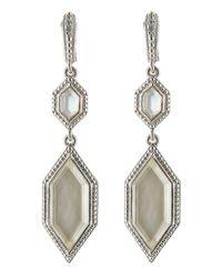 Judith Ripka - Metallic Modern Deco Double Drop Mother-Of-Pearl Doublet Earrings - Lyst