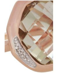 Monica Vinader Green Riva Rose Goldplated Amethyst and Pavé Diamond Ring