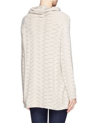 Armani - White Ruched Neck Rib Stripe Sweater - Lyst