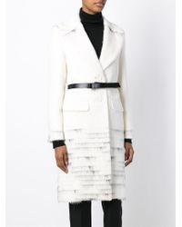 Agnona - White Single Breasted Coat - Lyst